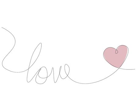Love text hand drawing vector illustration