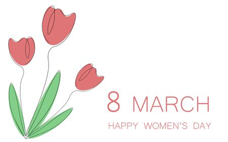 Womens day card flowers tulips vector illustration