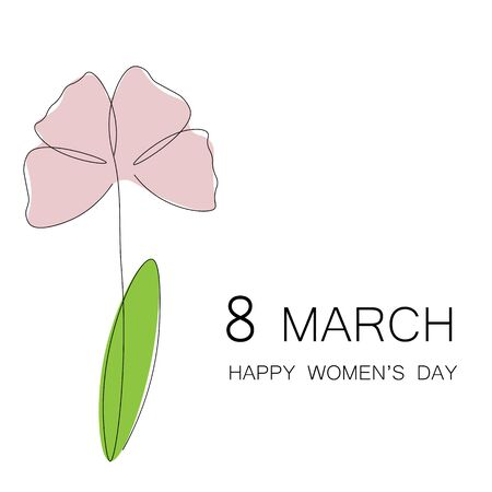 Womens day card with flower spring vector illustration