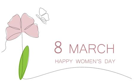 Womens day card, flower pink tulips vector illustration Illustration