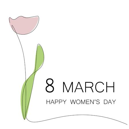 Womens day flowers card, tulips vector illustration