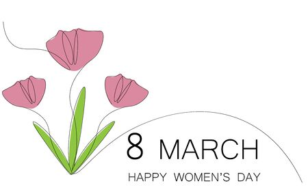 Womens day flowers greeting card, pink tulips vector illustration