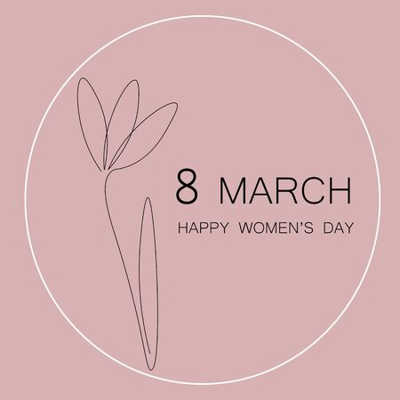 Happy womens day card with flower pink vector illustration.