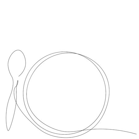 Spoon and plate one line drawing vector illustration