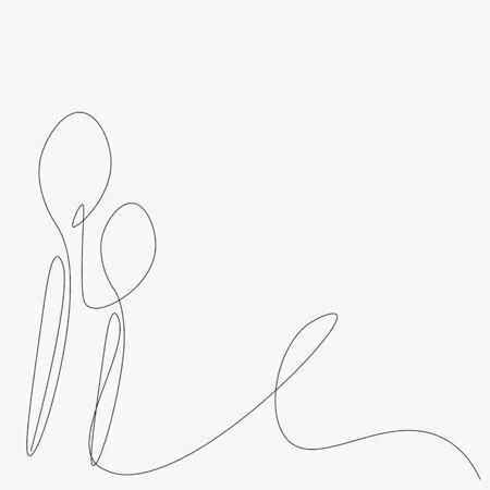 Spoons line drawing, restaurant background vector illustration
