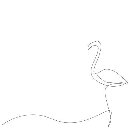 Flamingo bird silhouette vector illustration