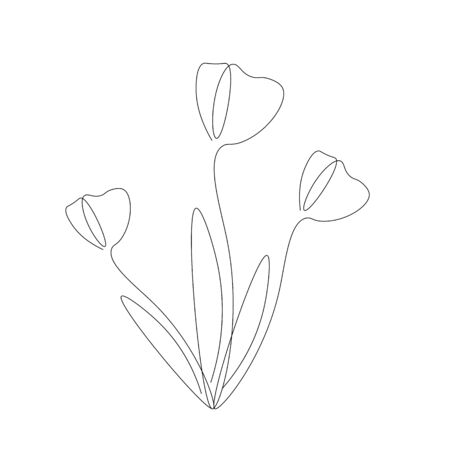 Spring flowers background. Continuous line drawing. Vector illustration