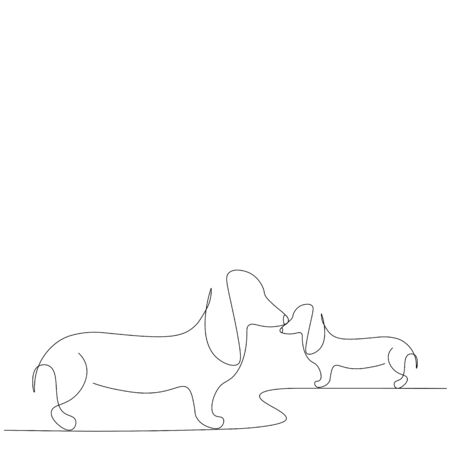 Dachshund dog puppy, animal print vector illustration