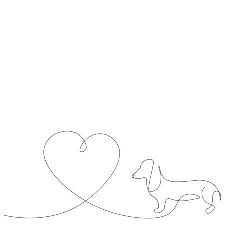 Valentine day background with dachshund puppy with heart, love design vector illustration