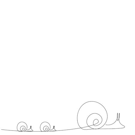 Snail line drawing vector illustration