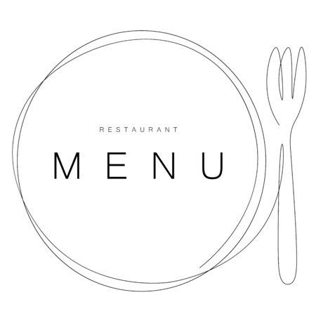 Menu restaurant background card with fork and plate, vector illustration Ilustracje wektorowe