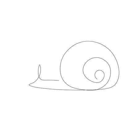 Snail silhouette on white background, vector illustration
