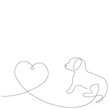 Dog puppy one line drawing on white background. Vector illustration Ilustração