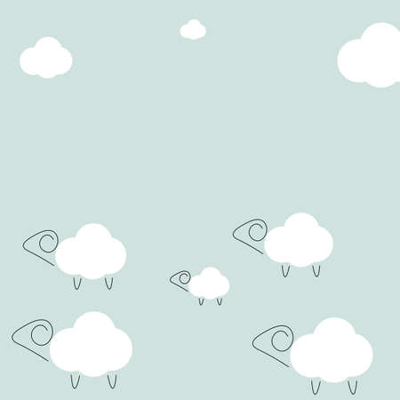 Animal background with lambs and clouds. Vector illustration