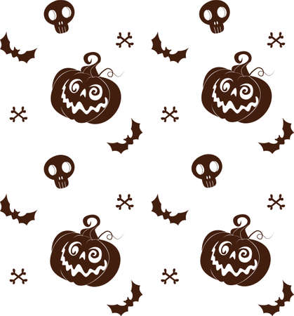 background for halloween with pumpkins, skulls, bats and cats Vettoriali