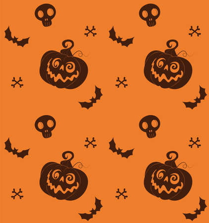 background for halloween with pumpkins, skulls, bats and cats in orange color