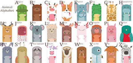 children's poster with animals and the alphabet Illustration