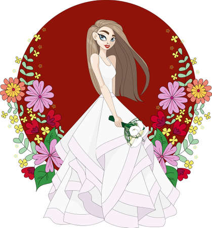 girl in wedding dress with bouquet of flowers
