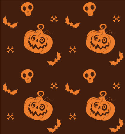Halloween pattern with pumpkins, skulls and bats Vettoriali