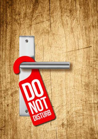 Hotel door with sign do not disturb