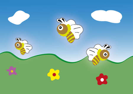 clear sky: vector bee icon  cartoon cute bright baby bee fly in blue sky   vector illustration  spring   summer landscape with green grass and clear sky