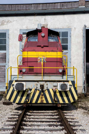 freight train: German freight train on rail in red Stock Photo