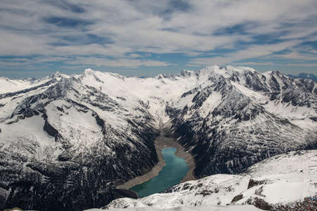 ice dam: panoramic view of Schlegeisspeicher lake - Zillertal Alps