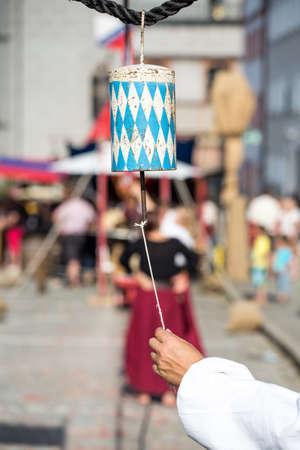 checker flag: Bavarian Bell on historic festival template background Stock Photo
