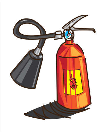 Fire extinguisher in illustration, Fire safety