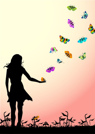 girl with butterfly Stock Vector - 3962333