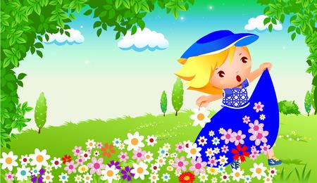 happy girl in garden Stock Vector - 3962335