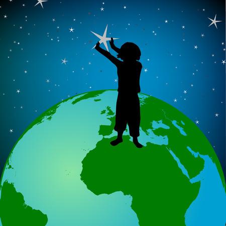 continente americano: ni�o en la tierra recogiendo estrellas de cielo Vectores