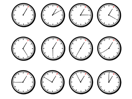 clock shows hour 1 Vector