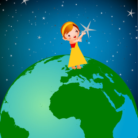 world cultures: girl on earth Illustration