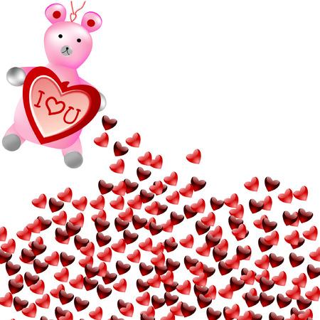 valentine s day teddy bear: teddy bear holding heart Illustration