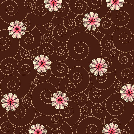 swirl background with flowers Vector
