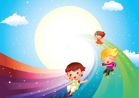 children sliding on rainbow