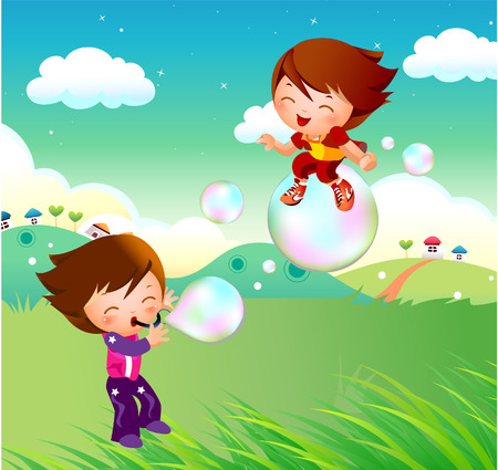 water slide: children playing with soap bubble Illustration