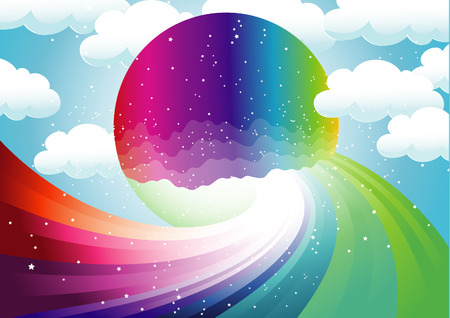 weather terms: rainbow and colorful moon illustration