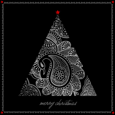 silver christmas: silver christmas tree illustration can be use for greeting