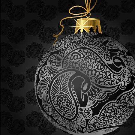 ribon: christmas ball illustration
