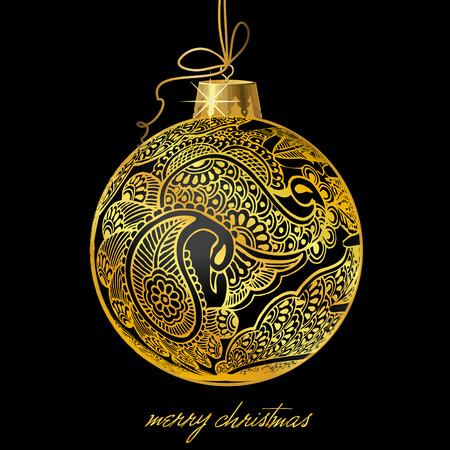 ribon: christmas ball with paisley