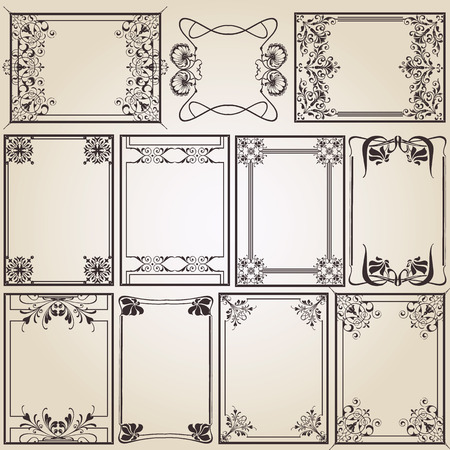 vintage frames for decoration or designing Vector