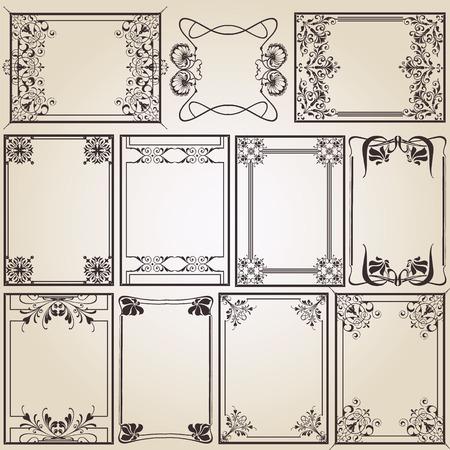 vintage frames for decoration or designing Vector