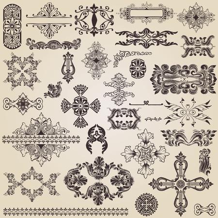 carve: elementos de dise�o de cosecha para la decoraci�n Vectores