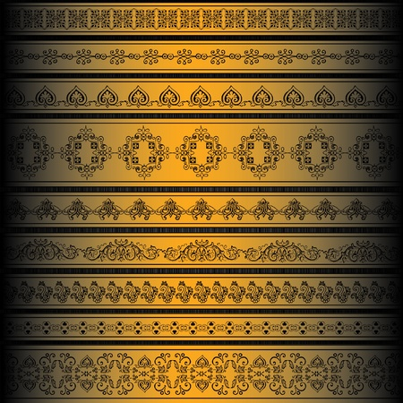 set of golden ornate border set for design Stock Vector - 10043172