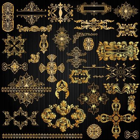 gild: insieme di elementi pagina d'oro ornato decorazione Vettoriali