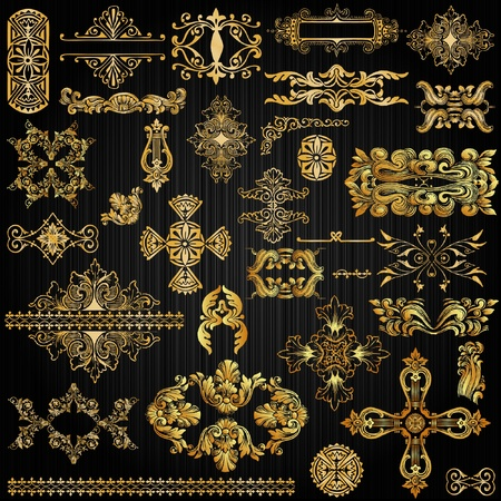 set of golden ornate page decor elements Stock Vector - 10043173