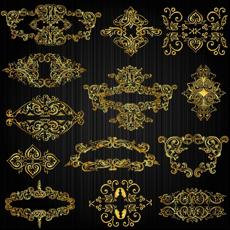 filigree background:  set of golden ornate page decor elements Illustration