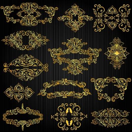 filigree: set van gouden sierlijke pagina decor-elementen Stock Illustratie
